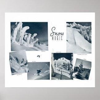 Snow magic, vintage ski images poster