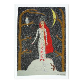 Snow Maiden (Red Version) 5x7 Paper Invitation Card