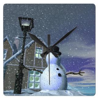 Snow Man 2 Square Wall Clocks