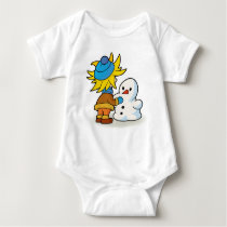Snow man and boy baby bodysuit