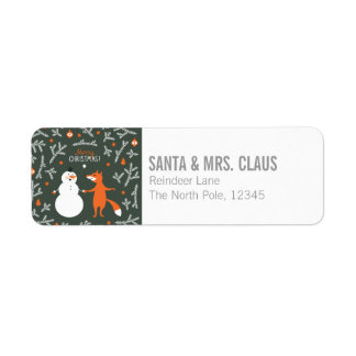 Snow Man And Fox Dancing Label