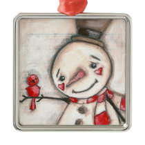 Snow Man and Red Bird - Ornament