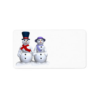 Snow Man And Snow Woman Label