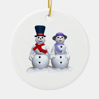 Snow Man And Snow Woman Christmas Ornament