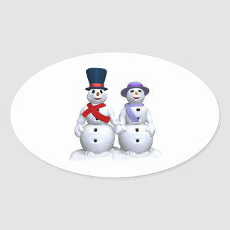 Snow Man And Snow Woman Oval Sticker