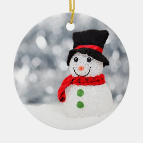 Snow man ceramic ornament
