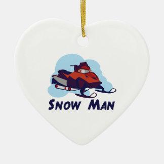 Snow Man Ceramic Ornament