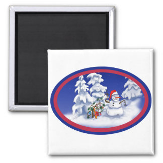 Snow man gets a Christmas gift Magnet
