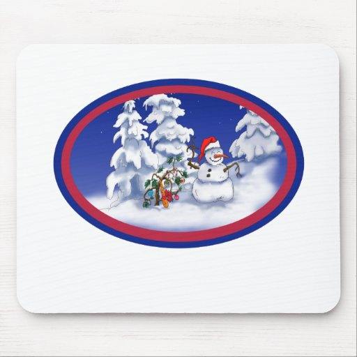Snow man gets a Christmas gift Mouse Pad
