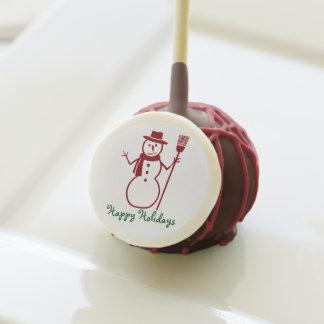 """SNOW MAN/HAPPY HOLIDAYS CAKE POP"
