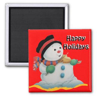 Snow Man, Happy Holidays  magnet