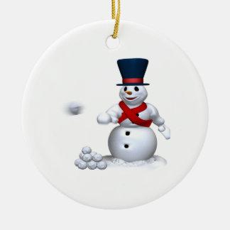 Snow Man Snow Fight Christmas Ornament