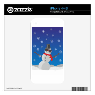 Snow Man Snow Winter Christmas Skins For iPhone 4
