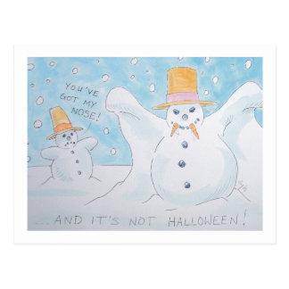 Snow man vampire postcard
