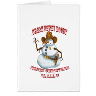 snow man western cowboy sherriff card