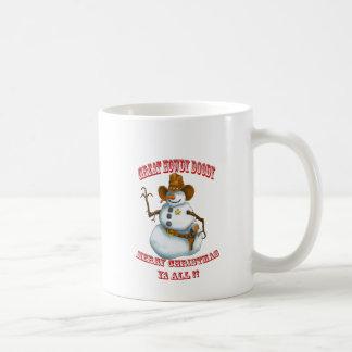 snow man western cowboy sherriff coffee mug