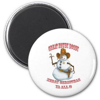 snow man western cowboy sherriff magnet