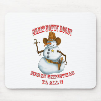 snow man western cowboy sherriff mouse pad
