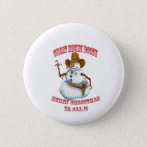 snow man western cowboy sherriff pinback button