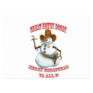 snow man western cowboy sherriff postcard