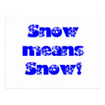 Snow means SNOW! Blue Postcard