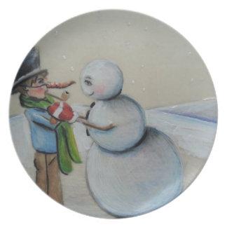 Snow Meany Melamine Plate