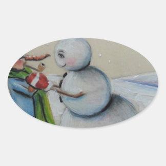 Snow Meany Oval Sticker