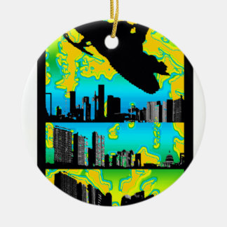 SNOW MOBILE PIPELINED Double-Sided CERAMIC ROUND CHRISTMAS ORNAMENT