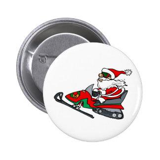 Snow Mobile Santa 2 Inch Round Button