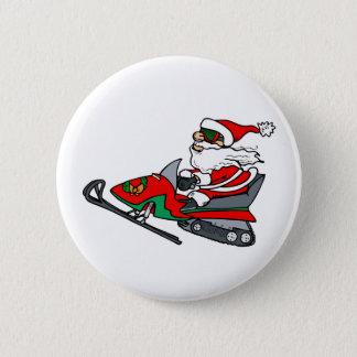 Snow Mobile Santa Button