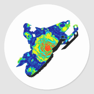 SNOW MOBILE TRACKERS CLASSIC ROUND STICKER