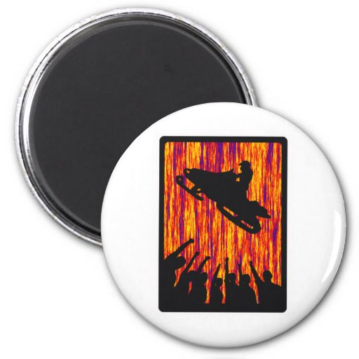 SNOW MOBILE TRANSFER 2 INCH ROUND MAGNET