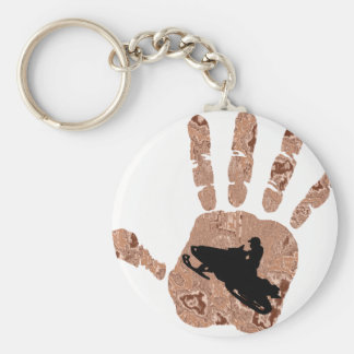 SNOW MOBILE WOODS BASIC ROUND BUTTON KEYCHAIN