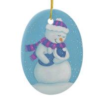 Snow Mom and Snow Baby Boy Ceramic Ornament