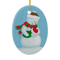 Snow Mom and Snow Baby Christmas Ceramic Ornament