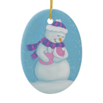 Snow Mom and Snow Baby Girl Ceramic Ornament