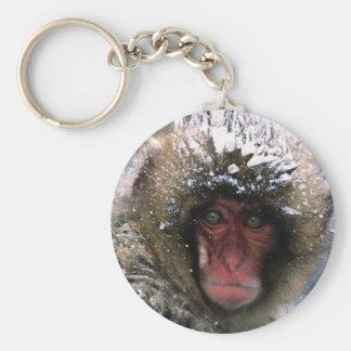 Snow Monkey Basic Round Button Keychain