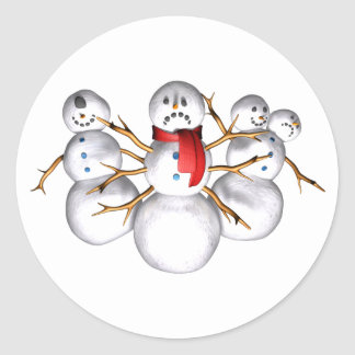 Snow Monsters Round Stickers