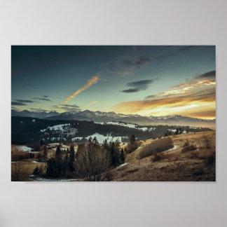 Snow Mountain Grassy Landscape Poster