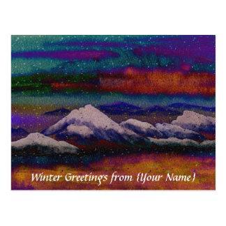 Snow Mountain Peak Colorful Winter Night Snowflake Postcard