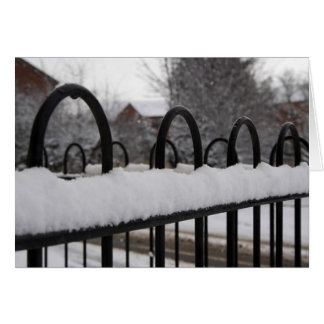 Snow on a fence greeting card