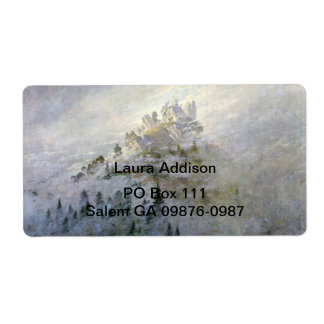 Snow on a Misty Mountain Shipping Label