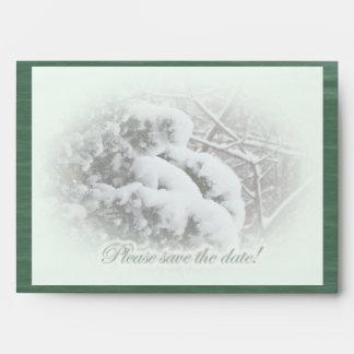 Snow on Arbor Vitae Save the date Envelope