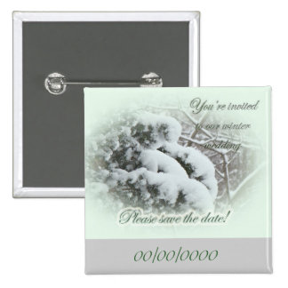 Snow on Arbor Vitae Save the Date Wedding Pinback Button