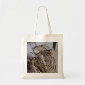 Snow on bush budget tote bag