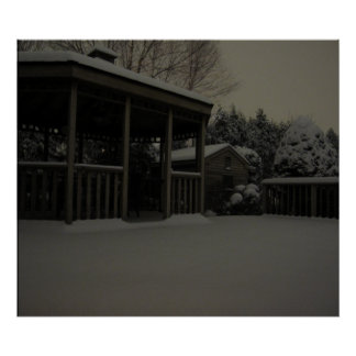 Snow on Deck at Night Poster