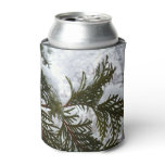 Snow on Evergreen Branches Winter Nature Photo Can Cooler