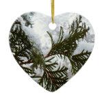 Snow on Evergreen Branches Winter Nature Photo Ceramic Ornament