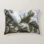 Snow on Evergreen Branches Winter Nature Photo Decorative Pillow