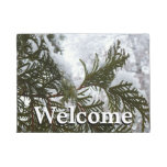 Snow on Evergreen Branches Winter Nature Photo Doormat